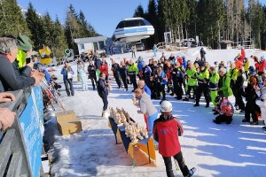 Premiazione degli atleti dello slalom
